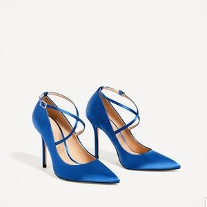 NWT Zara Satin Electric Blue Strappy Heels